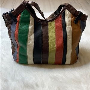Lucky Brand All Leather Multi Color Shoulder Bag